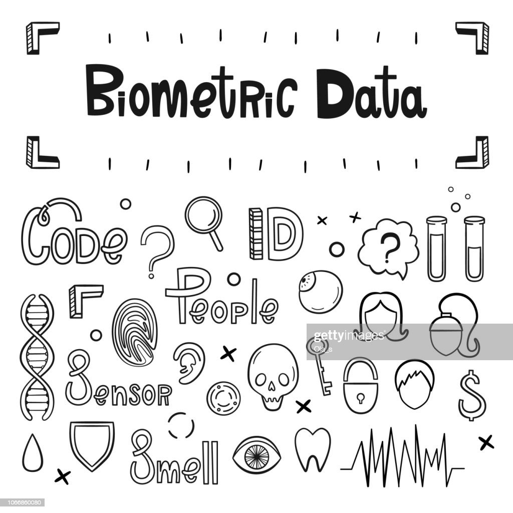 Biometric data. Vector set of hand-drawn icons and inscriptions. Fingerprints, DNA, eyeball, test tubes, skull, face, sensor, protection, shield and others