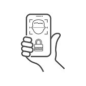 Biometric identification, face recognition system concept. Smartphone in hand scans a person face. Face ID, face recognition and scanning. Vector illustration. EPS 10