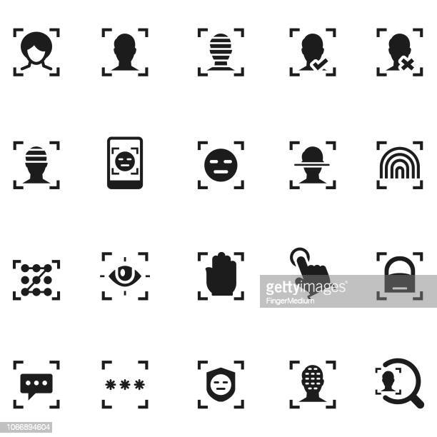 biometric scanning icons - access control stock illustrations, clip art, cartoons, & icons