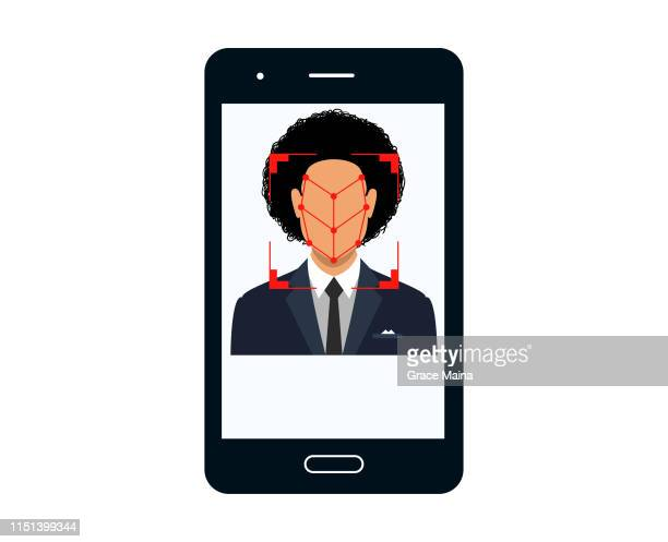 bio-metrics of a man , face detection, recognition and identification - validation stock illustrations, clip art, cartoons, & icons