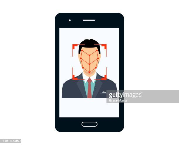 bio-metrics of a man , face detection, recognition and identification - security code stock illustrations