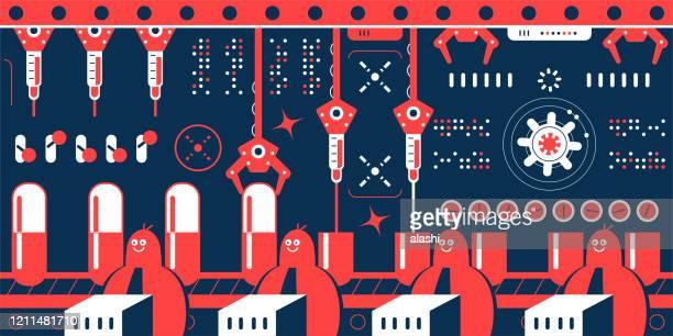 ilustraciones, imágenes clip art, dibujos animados e iconos de stock de las empresas biotecnológicas (científico, médico, bioquímico, farmacéutico) fabrican nuevos medicamentos en una fábrica farmacéutica con una línea de producción que muestra una fila de cápsulas - habitos de higiene