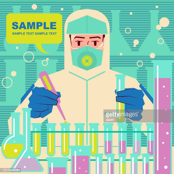 biotech firms rush to make new coronavirus vaccines (2019-ncov), scientist (doctor, biochemist) in protective clothing is doing scientific experiment - viral shedding stock illustrations