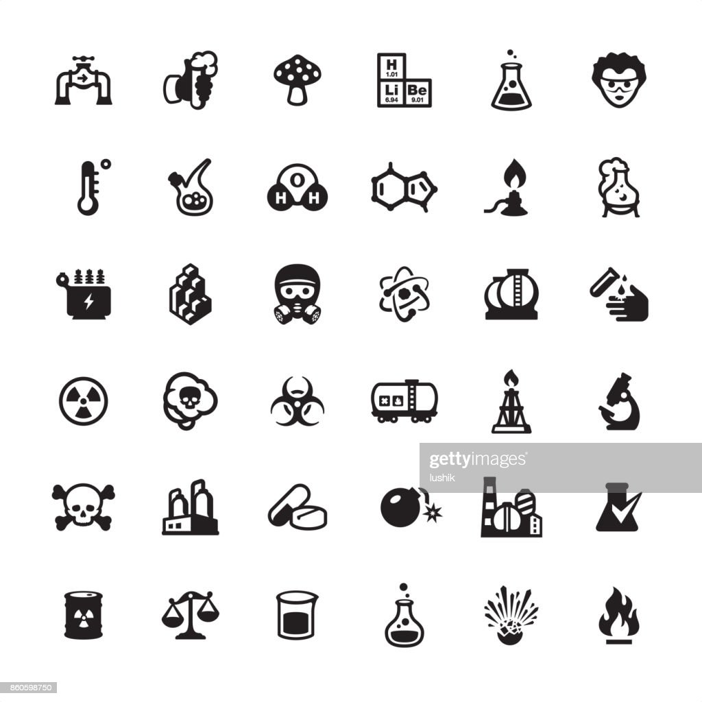 Biotechnology and Chemistry icons set : stock illustration