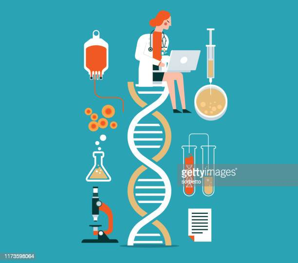biotechnology - female doctor - genetic research stock illustrations