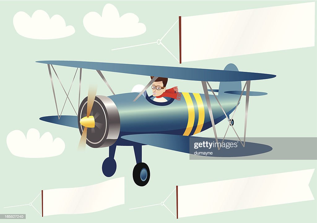 Biplane and banners