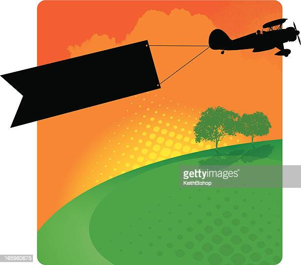 Biplane Banner Background - Air Advertising