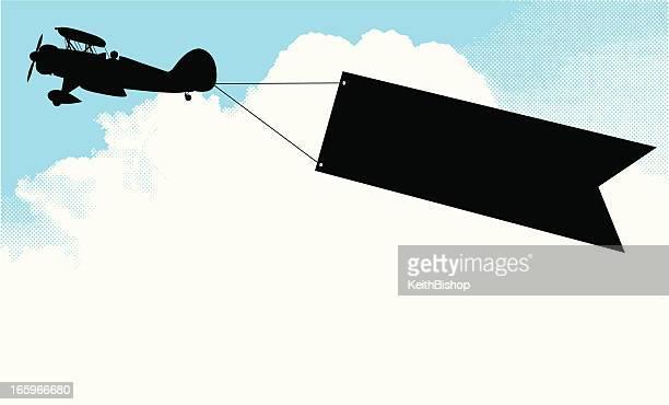 Biplan fond de bannière publicitaire-Air