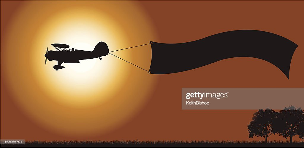 Biplane Banner Background - Air Advertising : Stock Illustration