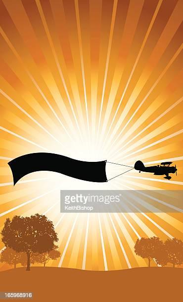 ilustraciones, imágenes clip art, dibujos animados e iconos de stock de biplano fondo de banner de publicidad al aire libre - primeraguerramundial