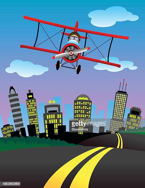 biplane city - biplane stock illustrations, clip art, cartoons, & icons