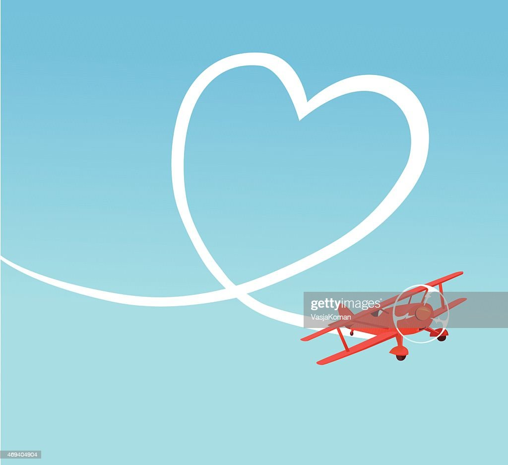 Biplane Creating Heart Shape on the Sky : stock illustration