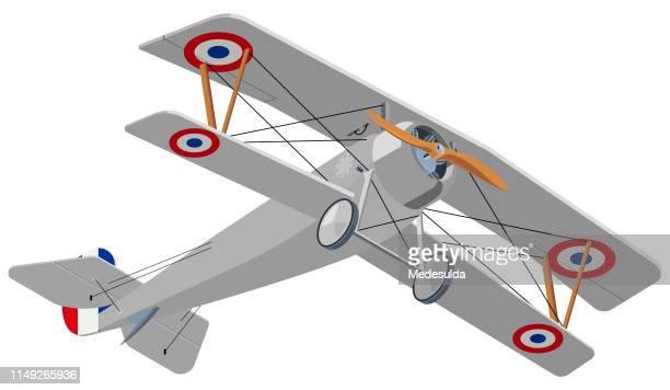 biplane isometric - ww1 aircraft stock illustrations