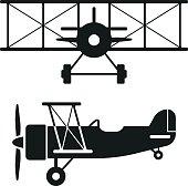 Biplane Retro Plane Silhouettes