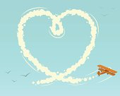 Biplane with heart shape