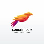 Bird abstract concepts,in bright gradient colors - phoenix birds and fire icons