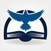 Bird and book vector