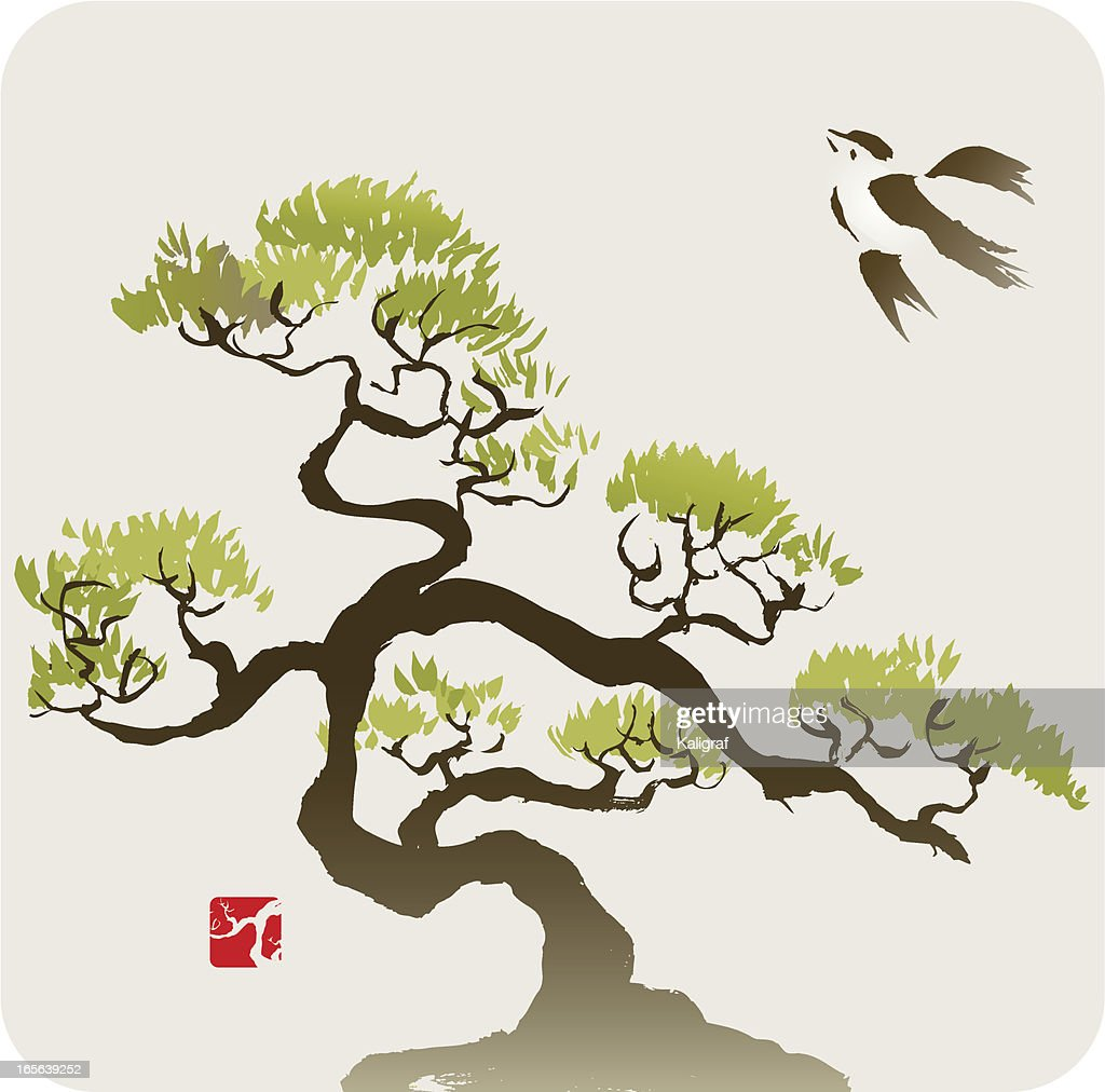 Bird and the Small Pine Tree or Bonsai