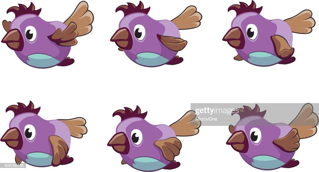 Bird animation vector frames