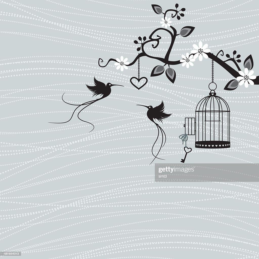 Bird Birdcage and branch.
