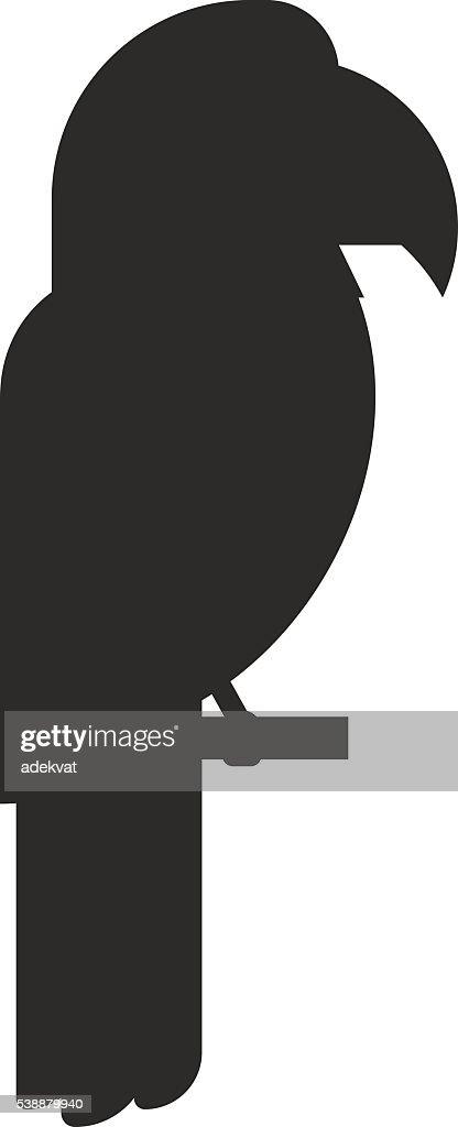 Bird black silhouette vector illustration.