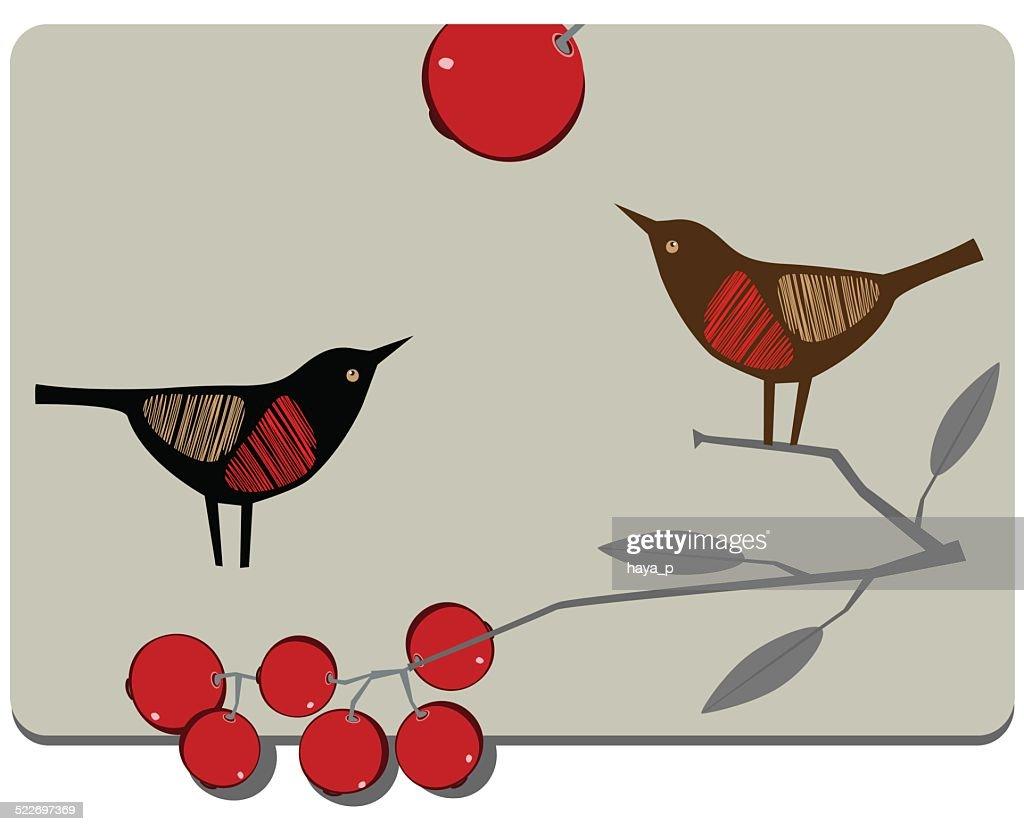 Bird, Branch, Berries