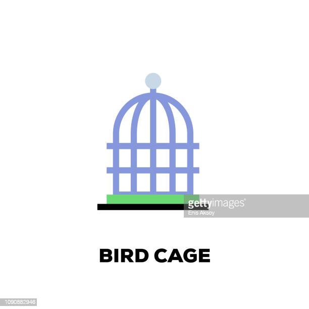 bird cage line icon - cage stock illustrations, clip art, cartoons, & icons