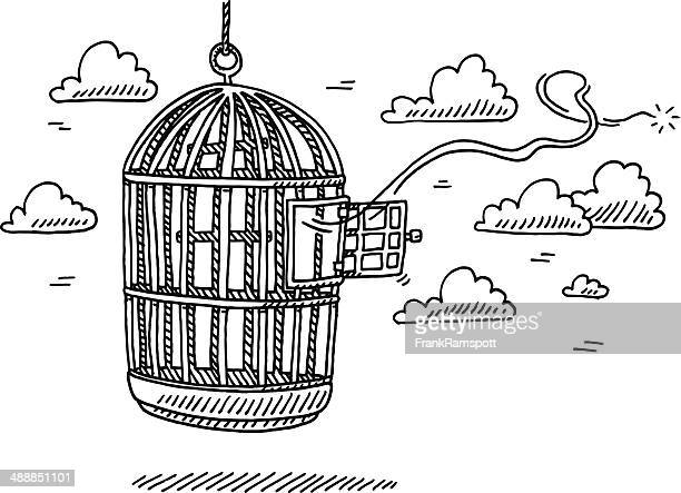 bird cage open door freedom drawing - cage stock illustrations, clip art, cartoons, & icons