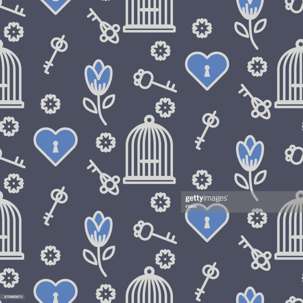 Bird cage romantic outline seamless vector pattern