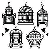 Bird Cage Vector Silhouette