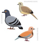 Bird Dove Pigeon Set Cartoon Vector Illustration