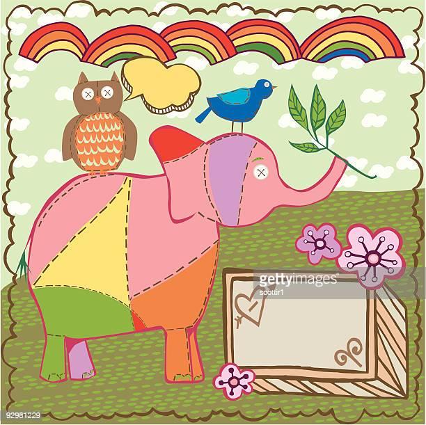 ilustraciones, imágenes clip art, dibujos animados e iconos de stock de pájaro, elephant y búho - patchwork