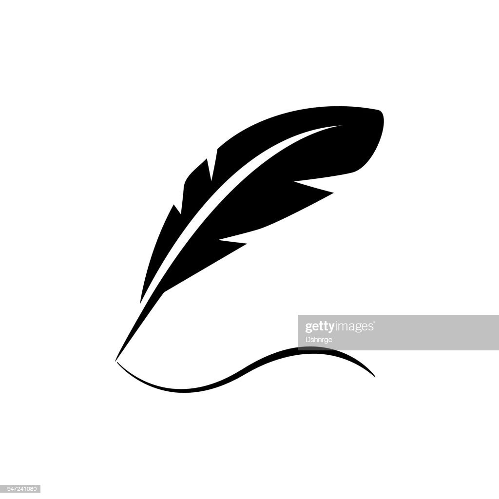 Bird feather quill writing on paper design vector icon black logo design