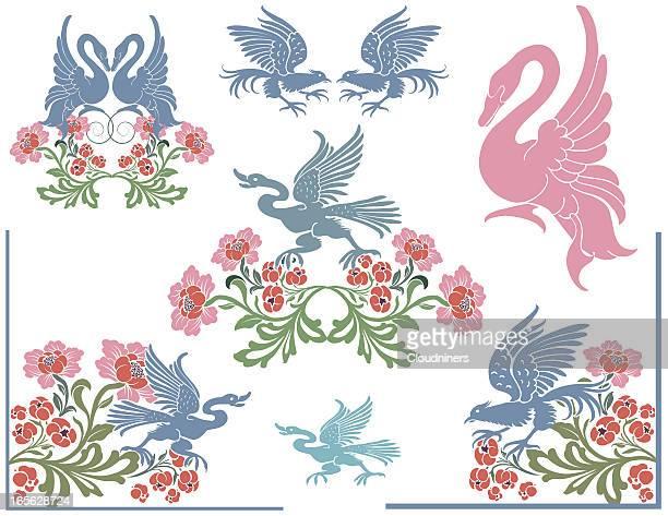鳥花柄 - ペーズリー点のイラスト素材/クリップアート素材/マンガ素材/アイコン素材