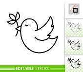 Bird flower branch simple thin line vector icon