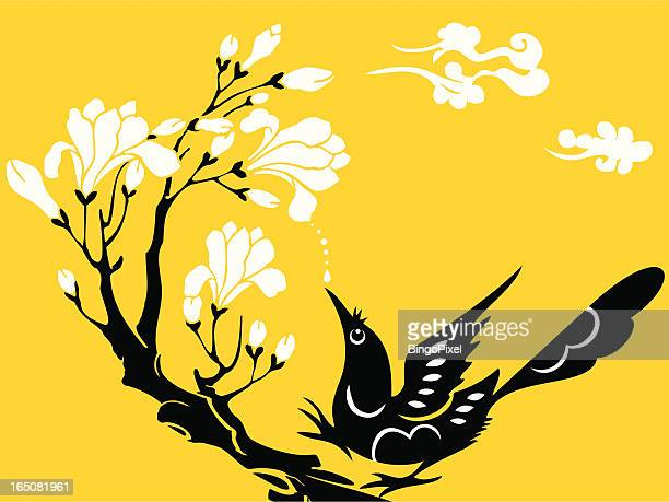 bird, flower & cloud - magpie stock illustrations