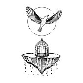 bird flying from cage. the world collapses. stone falling. bird fly to sky. illustration vector. hand drawing. tattoo design. symbol for freedom, life, peace, last time, never see.