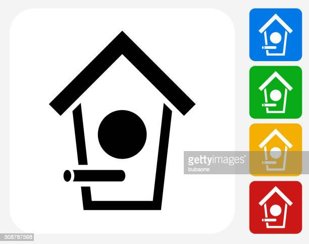 Bird House Icon Flat Graphic Design
