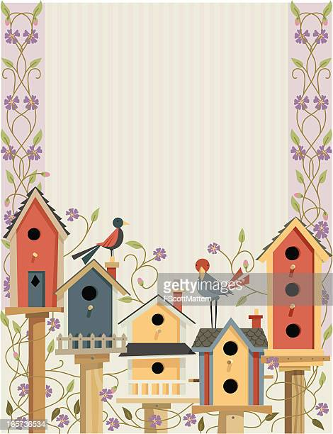 Bird Houses in Garden Border