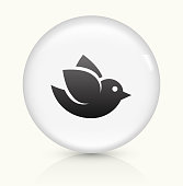 Bird icon on white round vector button