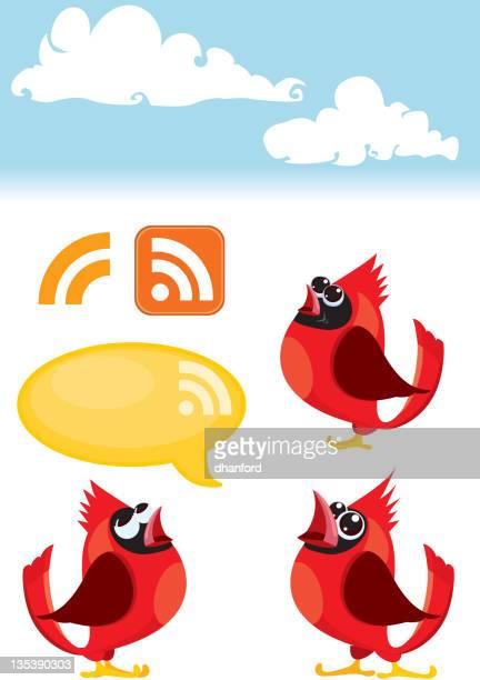 bird icon set, talking cardinal birds and rss symbol - cardinal bird stock illustrations, clip art, cartoons, & icons