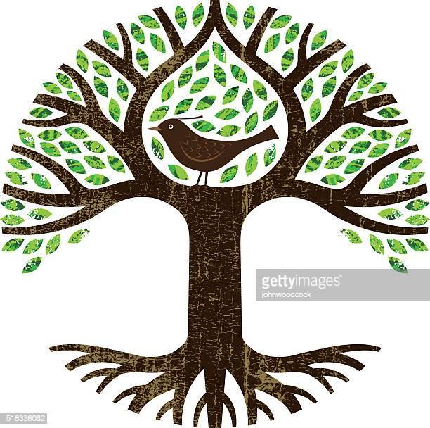 bird in a tree illustration. - family tree stock illustrations, clip art, cartoons, & icons