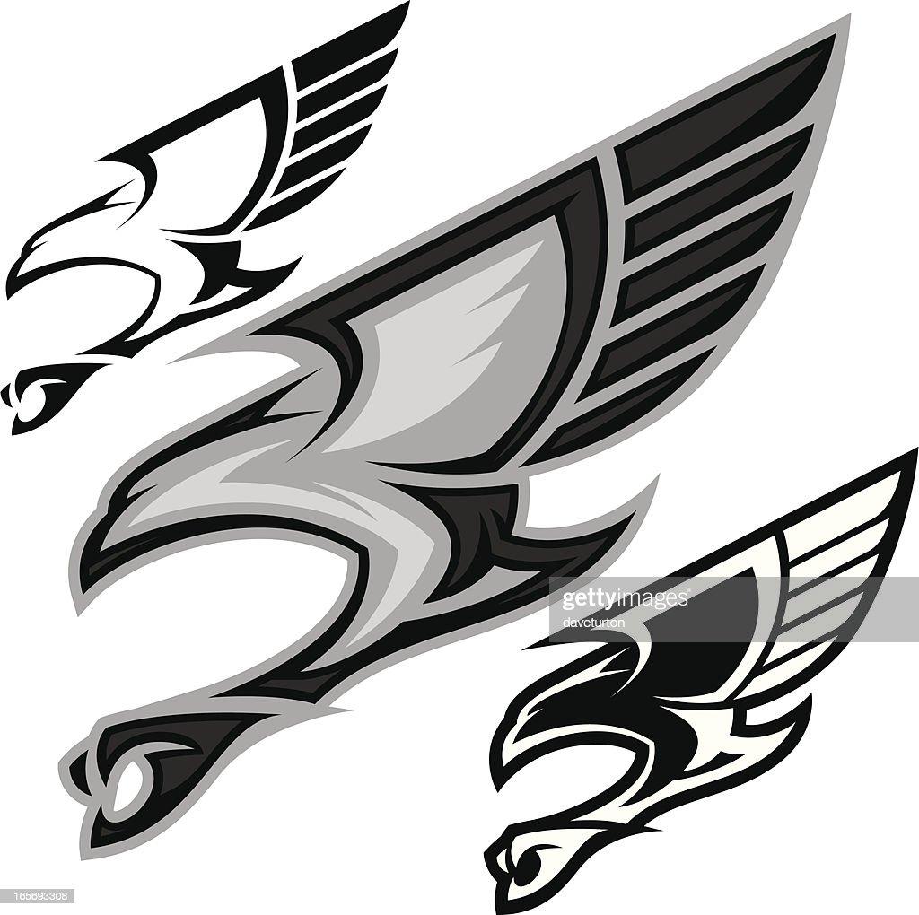 Bird in Flight B&W : stock illustration