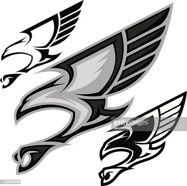 bird in flight b&w - falcon bird stock illustrations, clip art, cartoons, & icons