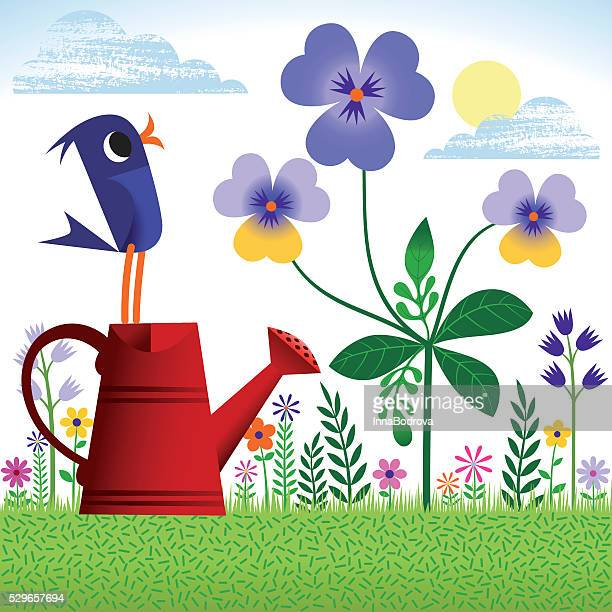 bird in spring or summer garden. - watering can stock illustrations