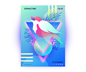 Bird in springtime vibrant gradients vector poster. Singing nightingale sitting on tree brunch, abstract web banner, spring flyer, wallpaper.
