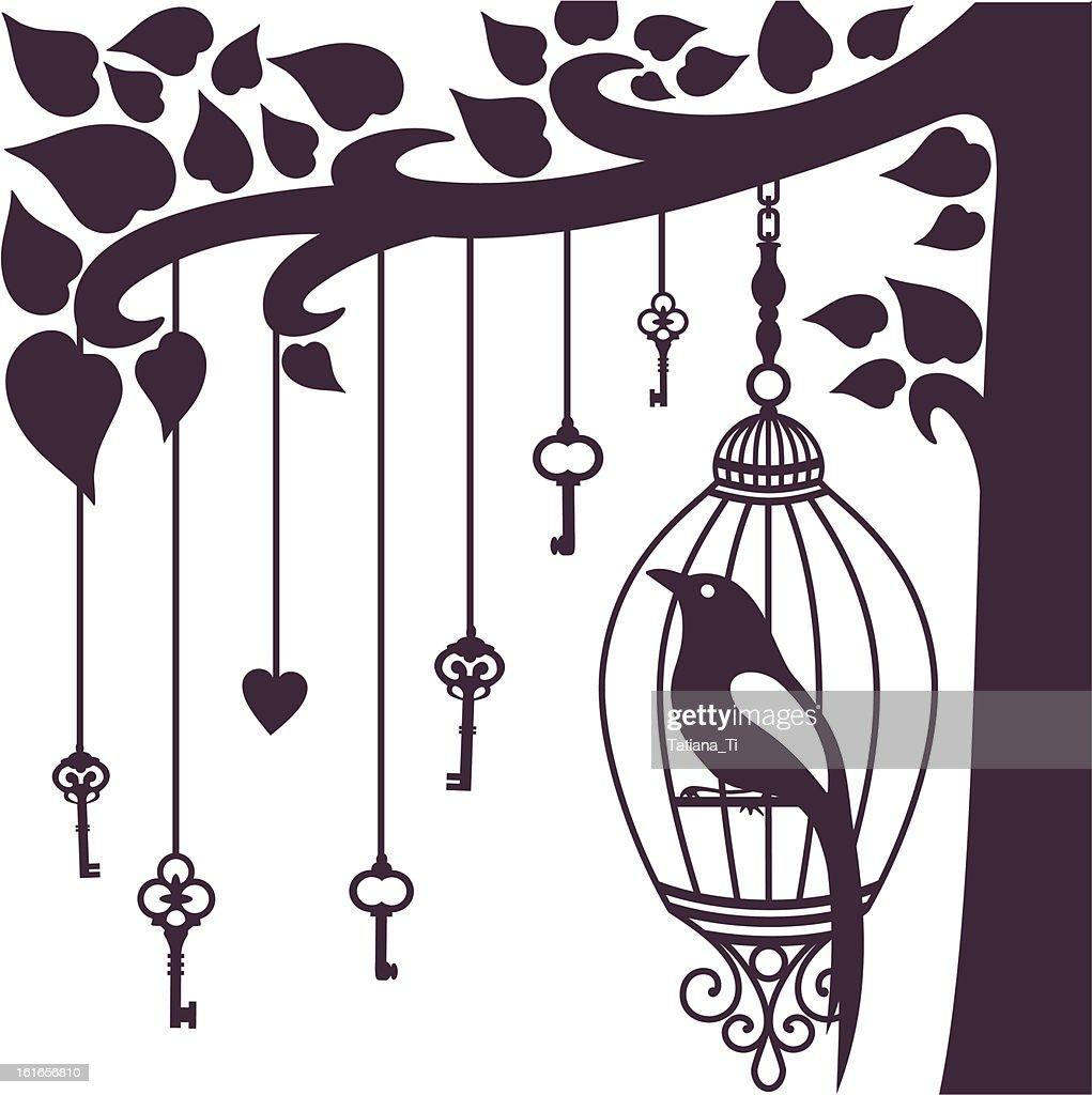 bird keys tree silhouette