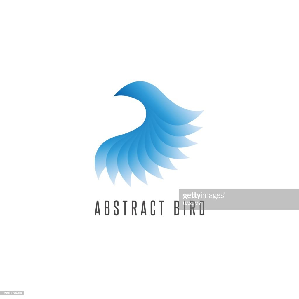 Bird log gradient blue style, abstract winged idea delivery emblem, creative flying graphic design element