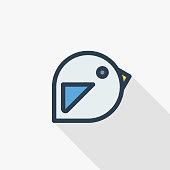 bird, message symbol, tweet thin line flat color icon. Linear vector symbol. Colorful long shadow design.
