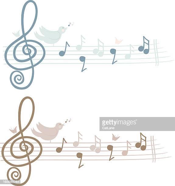 bird music - treble clef stock illustrations, clip art, cartoons, & icons